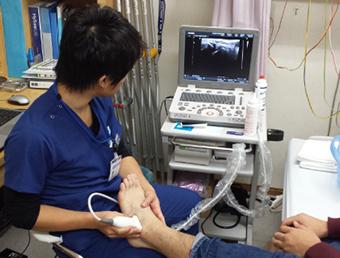 エコー画像診断装置を用いての患部画像観察